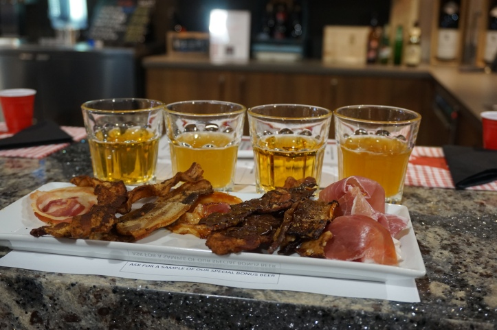 The bacon selection, from left to right; pancetta, apple wood smoked bacon, salt and pepper pork belly, maple glazed pancetta, salted caramel chocolate bacon with cayenne, brown sugar pork belly and prosciutto both plain and with a hickory barbeque sauce.