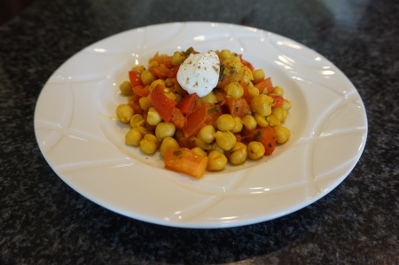 Warm curry chickpea salad
