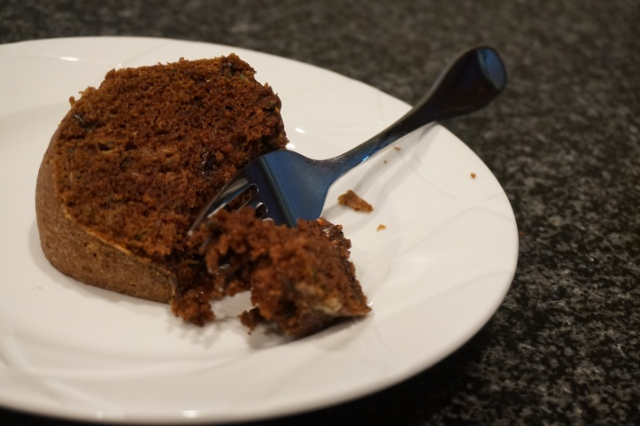 slice of chocolate zucchini cake