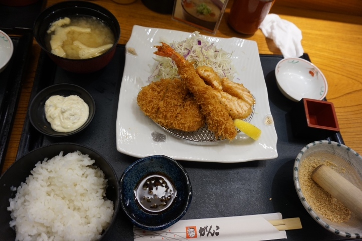 Japanese Tonkatsu shrimp salmon and pork