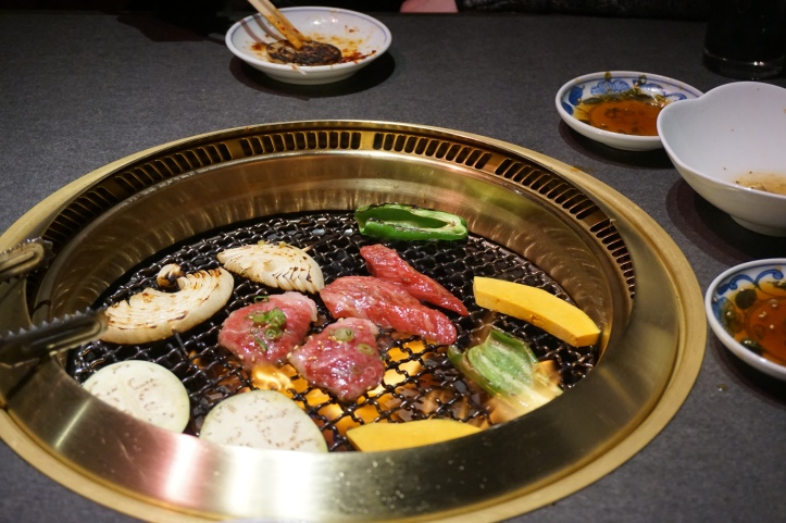 Japanese Yakiniku grilled meat and vegetables