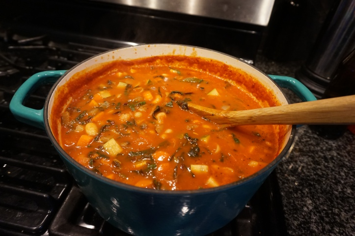 pot of vegetarian white bean minestrone