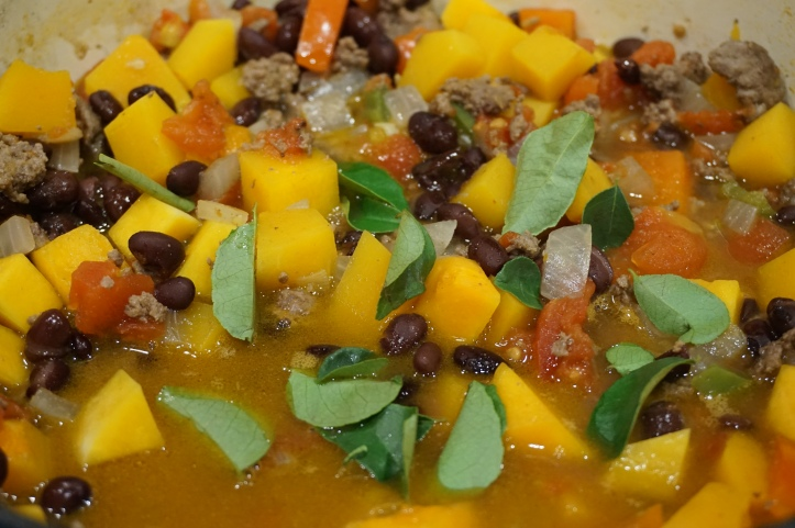 pumpkin and beef and bean curry chili