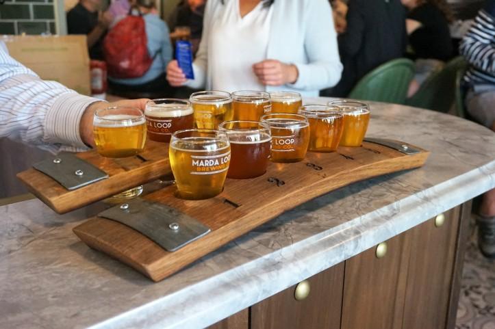 Marda Loop Brewing glasses on bar